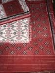 All Over Ikat work White and Red Cotton Hand woven Saree without Blouse Piece