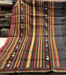 Beautiful Maroon and black Tasar Dongria Saree with Blouse Piece