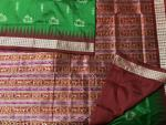 Exclusively Woven Ancient Boat Motifs with Tribal Figures Aanchal Bomkai Silk Saree with Blouse