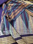 Rainbow Theme Geometric Pattern Fine Cotton Ikat Saree with Blouse Piece