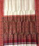 Off White and Red Traditional Khandua Silk Saree without Blouse Piece