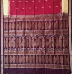 Checks border fish motifs Bomkai Silk Saree with Blouse Piece