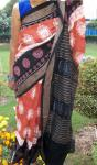 Wheel Motif All over ikat work Cotton Saree Without Blouse Piece
