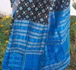 Traditional Black and Blue Pasapalli Body Ikat Work Aanchal Silk Saree With Blouse Piece