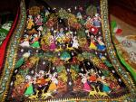 Maroon and Black all over pattachitra Silk Saree with Blouse Piece