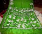 Green color Pattachitra Silk Saree