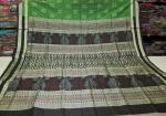 Green and Black Tribal works in Ikat and Bomkai Silk Saree with Blouse Piece