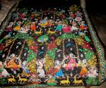 Radha Krishna With Gopis Theme Pattachitra Work Silk Saree with Blouse Piece