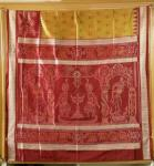Exclusively woven Master weaver s creation of Dancers border Temple theme Ikat Silk Saree