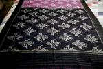 All over Ikat Flower Motifs Cotton Saree without Blouse Piece