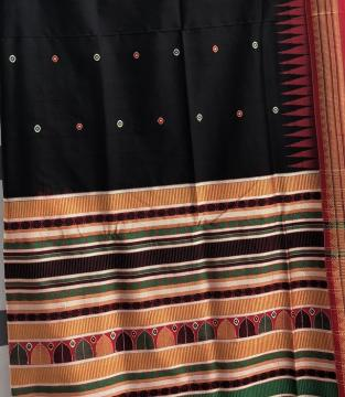 Black And Red Dongria Saree in Silk with Blouse Piece