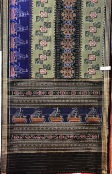 Traditional boat motifs Cotton Ikat Saree without Blouse Piece