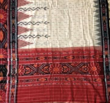 Off white Body with Black and Red Border All over Ikat cotton Saree without Blouse Piece