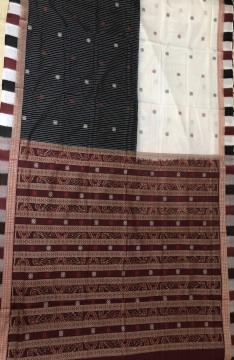 Box and Rudraksh Border Traditional Aanchal Skirt Pattern Ikat Cotton Saree with Blouse Piece