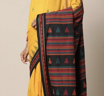 Yellow Cotton Dongria Saree without Blouse Piece