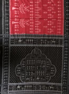 Saura Tribal Motifs Red and Black Cotton Ikat Saree without Blouse Piece
