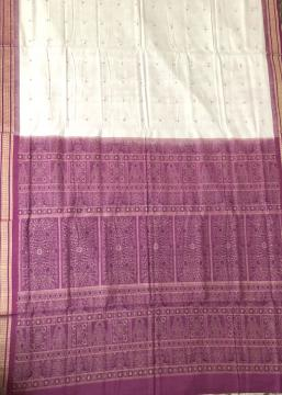 White And Purple Traditional Bomkai Cotton Saree with Blouse Piece