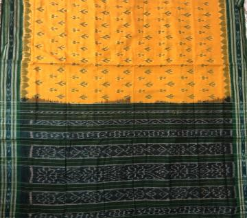 Yellow Green All Over Ikat Cotton Saree without Blouse piece