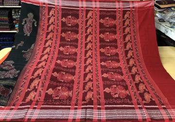 Dancer and Animal Motifs Exclusively Woven Ikat Cotton Saree with Blouse Piece