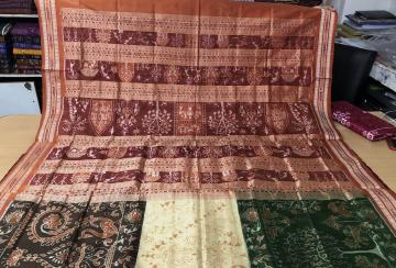 Exclusively Woven on Tribal Life Tricolour Body Ikat Silk Saree with Blouse Piece