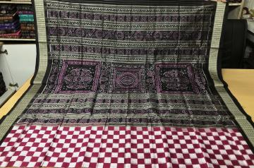 Exclusively Woven Body Checked Boxes Pasapalli Silk Saree with Blouse pIece