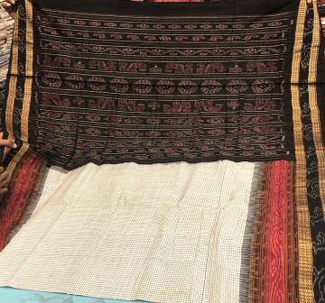 Body Checks Double Border Traditional Aanchal Cotton Saree without blouse piece