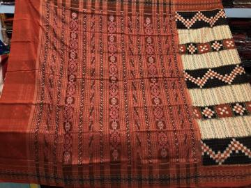 Pasapalli and Traditional Ikat Motifs Exclusively woven Odisha Handloom Cotton Saree with Blouse