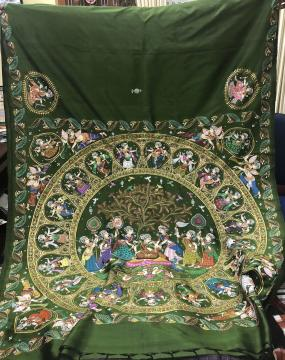 Chandua Pattern Inspired Hand Painted Pattachitra Silk Saree with Blouse pIece