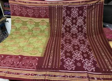 Lotus and Fish Motifs Nuapatana Cotton Saree without Blouse Piece