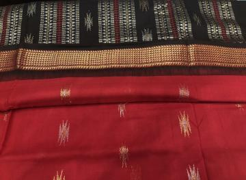 Exclusively Woven Zari Border Aanchal and Butis Firbi Bomkai Cotton Saree with Blouse Piece