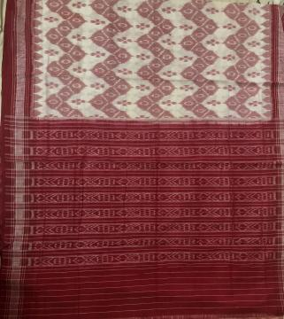 All Over Hand Woven Ikat work Off white Red Cotton Saree without Blouse Piece