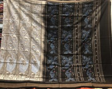 Peacock Motifs Ikat Cotton Saree with Blouse Piece