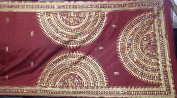 Half and Half Hand Painting Tribal Work Silk Saree with Blouse Piece