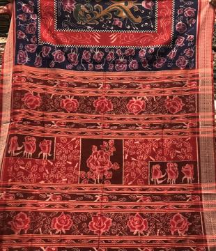 Intricately Woven Rose Motifs Blue and Red Cotton Ikat Saree With Blouse Piece