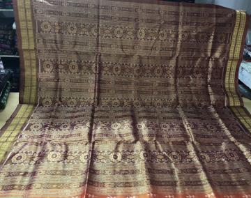 Tribal And Traditional Motifs All over Ikat woven Tissue Silk Saree with Blouse Piece