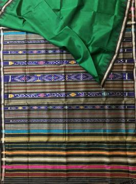 Double Aanchal Phoda Kumbha Border Berhampuri Silk Saree With Blouse Piece