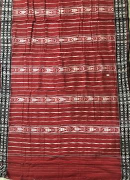 Exclusively Woven All over Work Red Habaspuri Cotton Saree With Blouse Piece