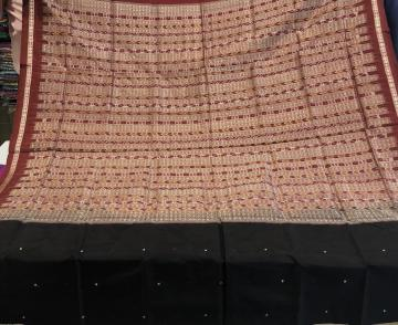Black and Maroon Traditional Bomkai And Ikat Silk Saree with Blouse Piece