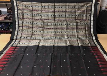 Traditional RudrakshTemple Border Ikat Bomkai Silk Saree with Blouse Piece