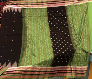 Thick Border Butis and Ikat Work Black Green Cotton Saree with Blouse Piece