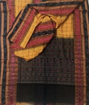 Traditional Motifs Border with Middle Border Ikat Cotton Saree without Blouse Piece