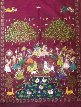 Radha Krishna Rasa with Gopis Hand Painted Pattachitra Work On Silk Saree with Blouse Back Work
