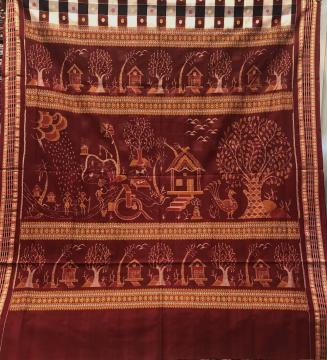 Master Weaver s Creation Exclusively Woven Tribal Life Scenic Beauty Cotton Ikkat Saree with blouse