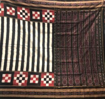 Traditional and Pasapalli Border With Stripe Body Cotton Ikat Saree without Blouse piece