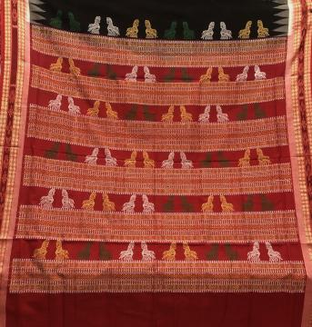 Exclusively Woven Horse motifs Aanchal with wheel motifs body Cotton Bomkai Saree with Blouse Piece
