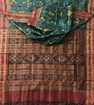 Traditional Nabakothi Khandua Silk Saree in Green without Blouse Piece