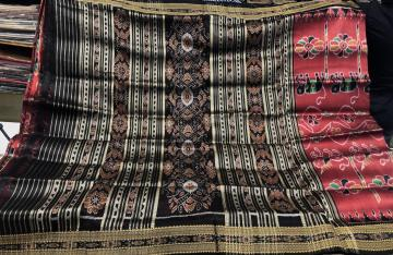 Maroon and Black Animal Motifs Traditional Khandua Silk Saree without Blouse Piece