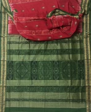 Red and Green Fish motifs and Ikat work Cotton Saree with Blouse Piece