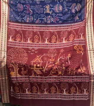 Exclusively woven Animal Motifs Body with Village theme Aanchal Cotton Ikat saree with Blouse piece