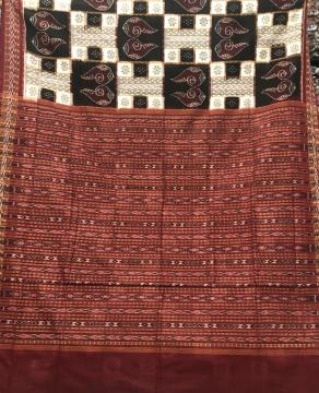 Beautiful Conch and Flower Motifs Cotton Ikat saree with Blouse Piece